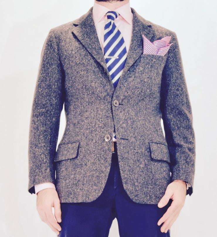 tie-bar, pockethandkerchief, jacket, shirt,