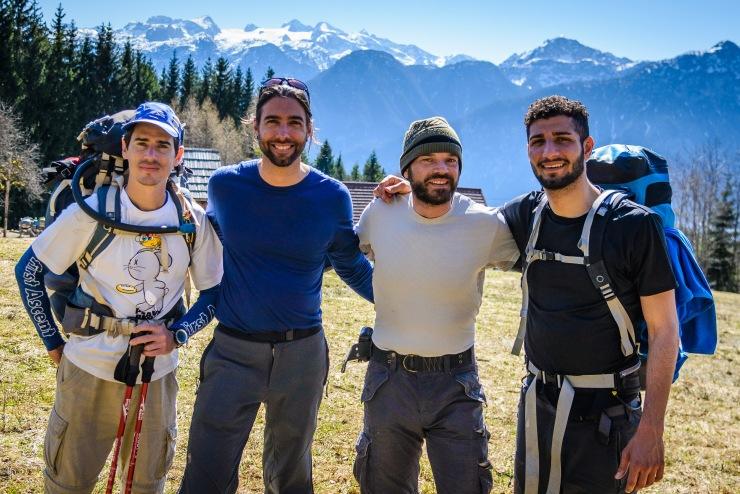 friends, mountains, hiking, trekking, alps, austria