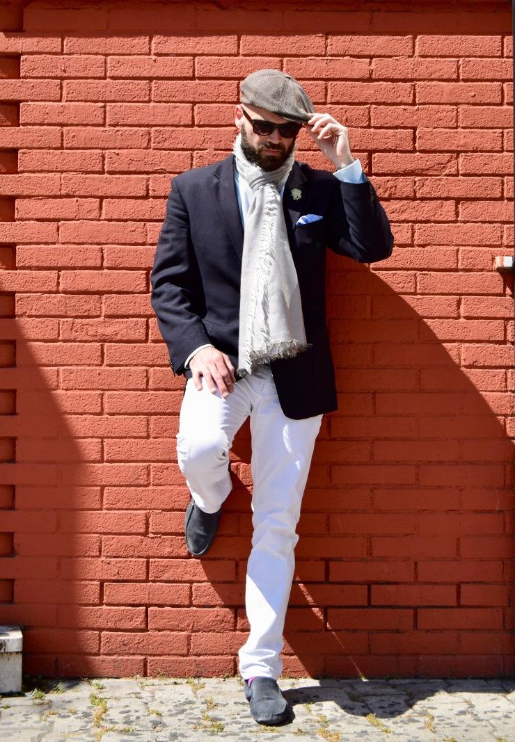 fashionblogger, styleblogger, romangentleman, andrea loquenzi holzer, john cravatta, blazer, brooksfield, scarf, david naman, trousers, jacket, hat, spada Roma, maui&sons, tieshoprome, mosca54, MCS, wayfarer, gentleman,